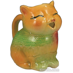 Shawnee Pottery Creamer Cat Yellow Green Herringbone Wrap No 85
