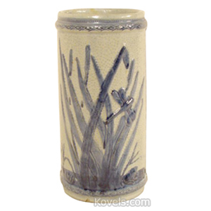 Sleepy Eye Vase Old Sleepy Eye Cattails Dragonfly Light Dark Blue Cylindrical