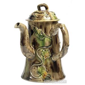 Staffordshire Coffeepot Flowering Vines Green Ocher Crabstock Handle C1760