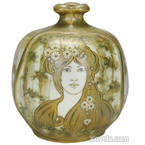 Teplitz Vase Art Nouveau Maiden Flowing Hair Oval Flared Petal Rim Amphora