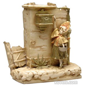 Teplitz Vase Figural Wall Mailbox Attached Girl Depositing Letter Amphora