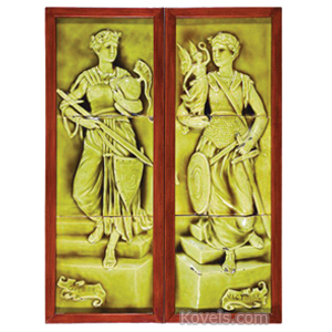 Tile Frieze Classical Warrior Green Glaze Kensington Tile Works 3-Tile Frame