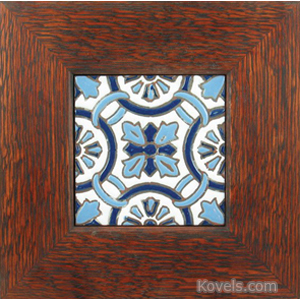 Tile Purple Lavender White High Glaze Art Nouveau Oak Frame