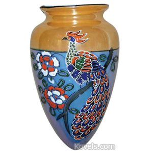 Wall Pockets Peacock Flowers Luster Ware Japan