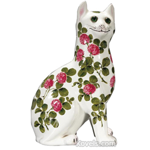 Wemyss Figurine Cat White Pink Clover Green Glass Eyes Joe Nekola C1930