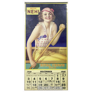 Calendar paper 1939 Drink Nehi Royal Crown Cola Woman In Rowboat | Kovels' Price Guide