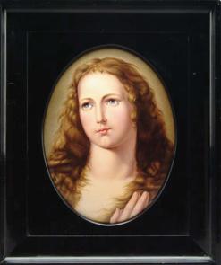 Kpm Plaque Girl Long Curly Hair Blue Eyes Oval Frame