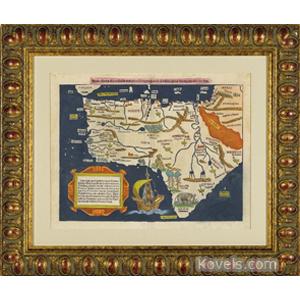 Map Africa Woodcut Animals Sebastian Frame Munster Germany C1550