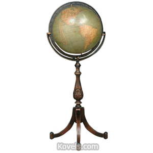 Map Globe Kittinger Bronzed Iron Frame Mahogany Federal Style Stand