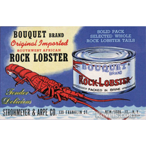 Postcard Bouquet Brand Rock Lobster Lobster Tin Linen