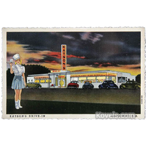 Postcard Katsons Drive-In Albuquerque Nm Uniformed Server Cars Linen