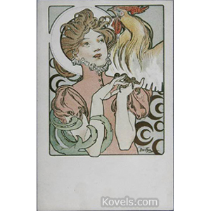 Postcard Victorian Woman Rooster Cocorico Alphonse Mucha