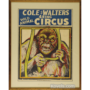 Poster Cole Walters 4 Ring Circus Wild Animals Silk Screen Frame C1950