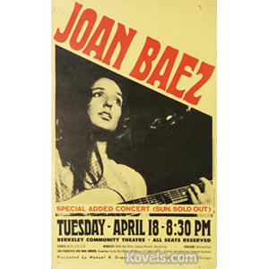 Poster Joan Baez Concert Berkeley Tuesday April 18 1967