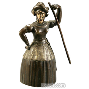 Bell Bronze Figural Joan Of Arc Nodding Head Enameled Features | Kovels' Price Guide