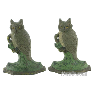 Bookends Owl Perched On Branch Cast Iron Octagonal Base | Kovels' Price Guide
