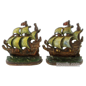 Bookends Ship Sailing Cast Iron | Kovels' Price Guide