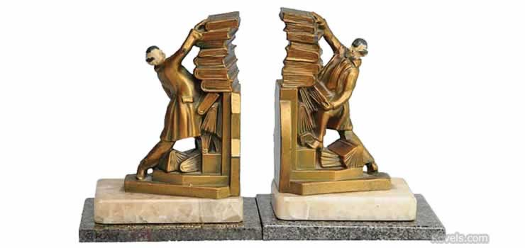 Antique bookends silver pewter brass copper chrome other metals price guide antiques - Lord of the rings book ends ...