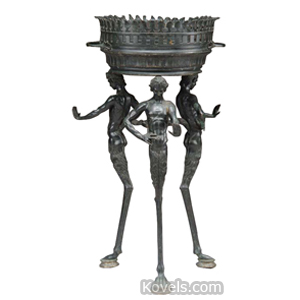 Bronze Planter 2 Sections Round Top Handles 3 Figural Legs 1-Legged Fauns Claw Feet | Kovels' Price Guide