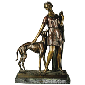 Bronze Sculpture Gallo I Woman With Greyhound Patina Signed | Kovels' Price Guide