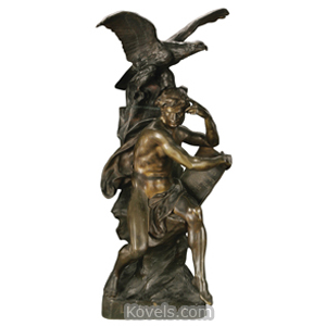 Bronze Sculpture Picault E Le Penseur Man Draped Holding Scroll Eagle | Kovels' Price Guide