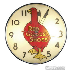 Clock Advertising Red Goose Shoes Electric Red Goose | Kovels' Price Guide