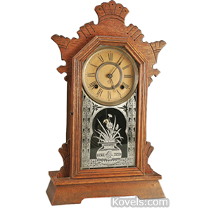 Clock Ansonia Shelf Austria Model Oak Case Etched Vase Of Flowers c1900 | Kovels' Price Guide