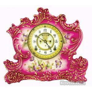 Clock Ansonia Shelf China Shaped Scrolls Pink Gold Trim Pendulum Key | Kovels' Price Guide