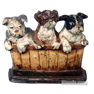 Doorstop 3 Puppies In Basket Bulldogs Cast Iron M Rosenstein 1932