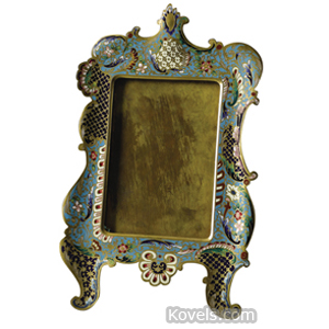 Enamel Frame Champleve Flowers Leaves Scrolls Easel Back France