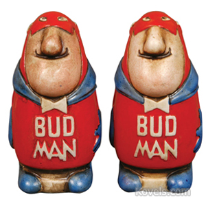Salt And Pepper Budweiser Beer Bud Man Ceramic 1960s