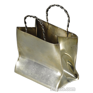 Silver-French Holder Shopping Bag Shape 2 Rope Twist Handles Cartier