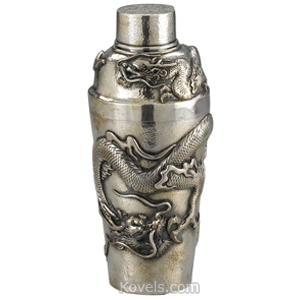 Silver-Japanese Cocktail Shaker Hammered Applied Dragons Cylindrical Tapered Bisansha