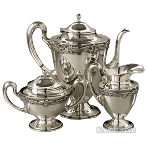 Silver-Mexican Tea Set Scrolled Band Shaped Handle Liceves