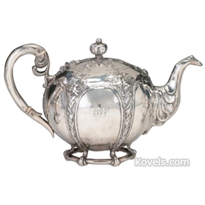 Silver-Scottish Teapot Paneled Chased Scrolls Openwork Foot William Marshall Sons 1881