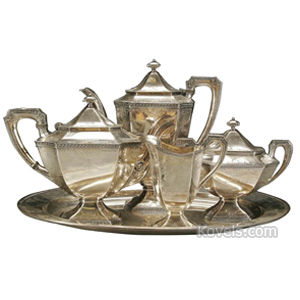Silver Plate Tea Coffee Set Classistic Pattern Barbour  sc 1 st  Kovels.com & Silver Plate