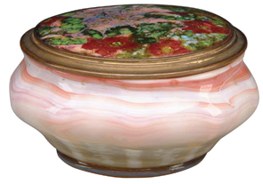 Tiffany Glass Powder Jar Yellow White Ribs Pink Swirls Bronze Cover Enameled Flowers