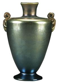 Tiffany Glass Vase Blue Iridescent Urn Shape Reeded Handles Footed Favrile C1913