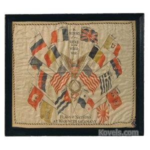 World War I Pillow Cover Only Silk Flag Of Nation At War With Germany 1912 Frame