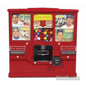 Coin-Operated machine Gumball Baseball Card Premier 2 Cent Red Paint 1950s | Kovels' Price Guide