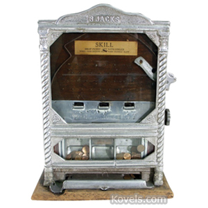 Coin-Operated machine Skill 3 Jacks Silver Metal Front Lock On Top | Kovels' Price Guide