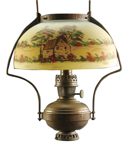 Lamp Aladdin Domed Shade Reverse Painted Cottage Scene Trees Flowers