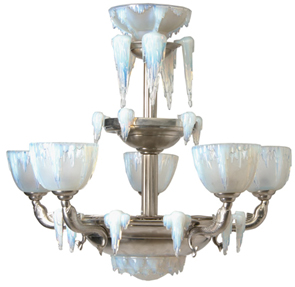 Lamp Chandelier 5-Light Chrome Opalescent Glass Shades Icicles Sabino