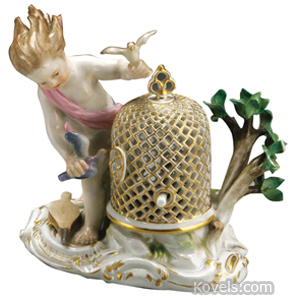 Meissen Group Cherub Wind-Blown Hair Putting Doves In Cage Rocaille Base