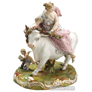 Meissen Group Europa Bull Putto Rocaille Edged Base Crossed Swords Mark