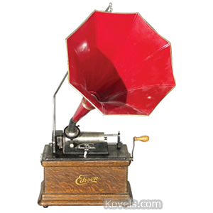 Phonograph Edison Fireside Model A Cylinder Compact Table Model Oak Red Horn C1909
