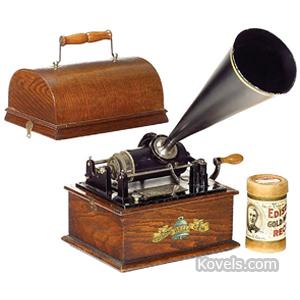 Phonograph Edison Gem Model B Table Model Black Horn Wood Case 1 Cylinder 1905