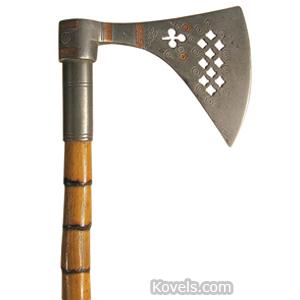 Cane Novelty Stiletto Hatchet Pierced Steel Metal Ferrule Bamboo Shaft   Kovels' Price Guide