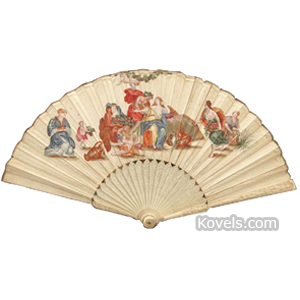 Fan Ivory Carved 22 Sticks Dancing Figures Relief Painted Vellum Feast