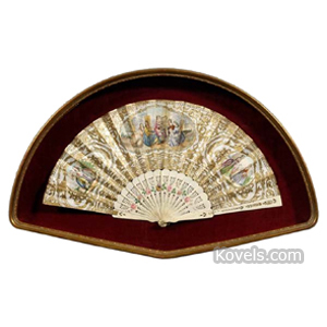Fan Ivory Paper Lithographed Scene Elegant Ladies Gilt Shadowbox Frame
